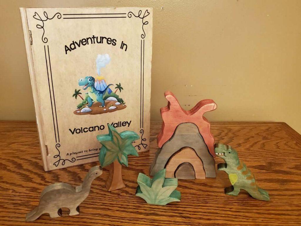 Volcano-and-Dinosaur-Wood-Playset