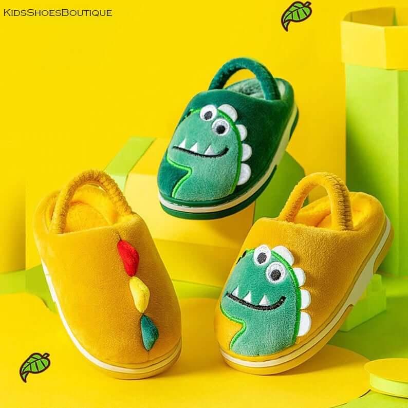 Wool-Baby-Cartoon-Cute-Dinosaur-Boys-Girls-Slippers