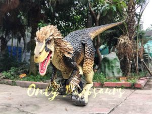 Yellow Feathered Velociraptor Costume