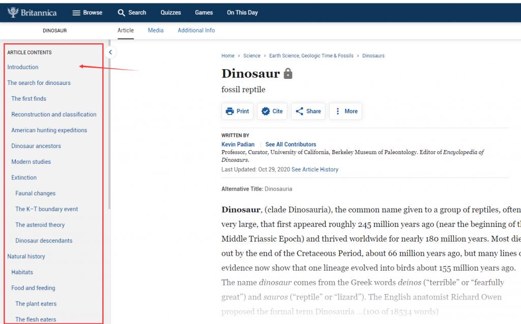 Authoritative Dinosaur Knowledge Websites britannica article pic1