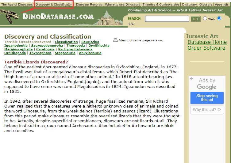 Authoritative Dinosaur Knowledge Websites dinodatabase-pic2