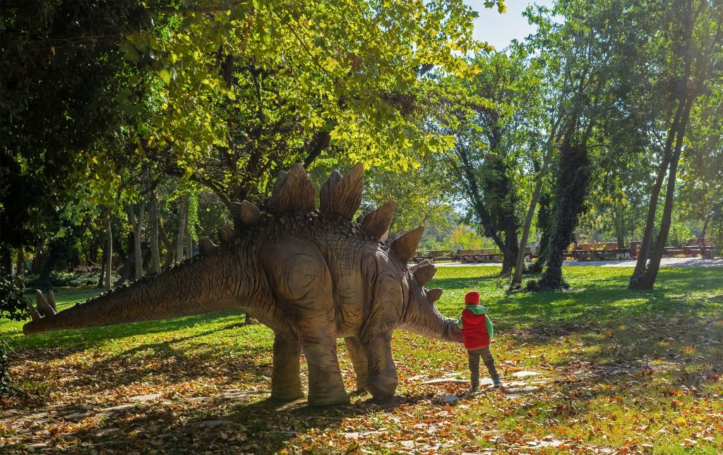 a child learning more in a dinosaur theme park