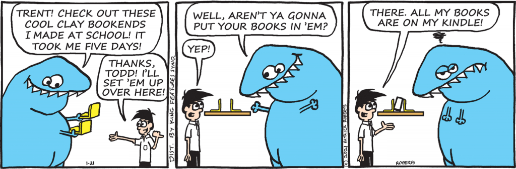dinosaur-comics-a-blue-dinosaur-talking-to-a-young-man-in-a-white-collared-shirt-in-a-comics-panel-from-Todd-the-Dinosaur-by-Patrick-Roberts