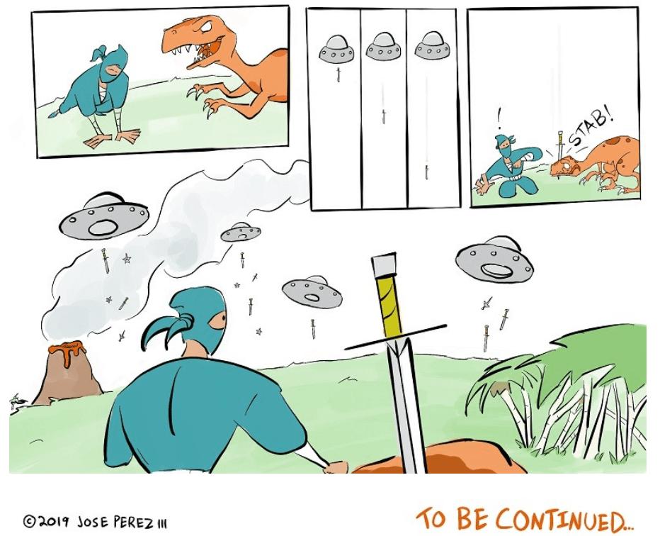 dinosaur-comics-a-comics-panel-from-the-webtoon-Ninjas-and-Dinosaurs-by-Jose-Perez-III-showing-a-teal-ninja-gray-space-ships-a-volcano-and-an-orange-dinosaur