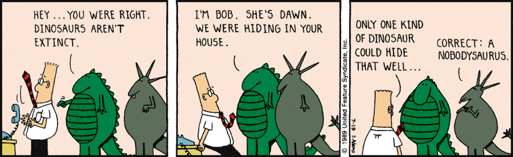 dinosaur-comics-a-man-in-a-red-necktie-talking-to-two-dinosaurs-in-a-comics-panel-from-Dilbert-by-Adam-Scott