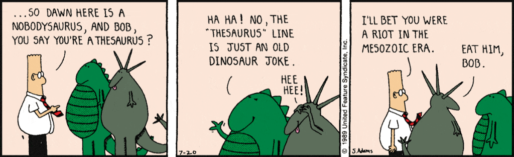 dinosaur-comics-a-man-in-a-red-necktie-talking-to-two-dinosaurs-in-a-comics-panel-from-Dilbert-by-Adam-Scott2