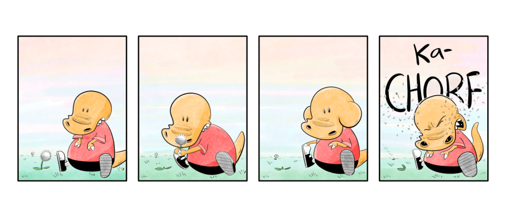 dinosaur-comics-a-small-orange-dinosaur-sneezing-because-of-a-dandelion-in-a-comics-panel-from-Dinosaur-Kid-by-Jimmy-Grist