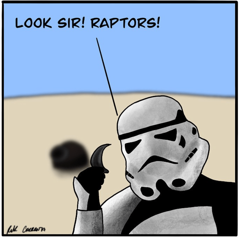 dinosaur-comics-a-stormtrooper-holding-a-moon-shaped-piece-of-claw-in-a-comics-panel-from-the-webtoon-Movies...with-dinosaurs-by-Rik-Carranza