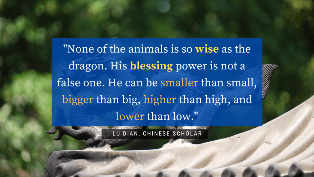 dragon-facts-–-quote-from-Chinese-scholar-Lu-Dian-in-white-text-blue-background-and-a-green-backdrop-with-a-gray-dragon
