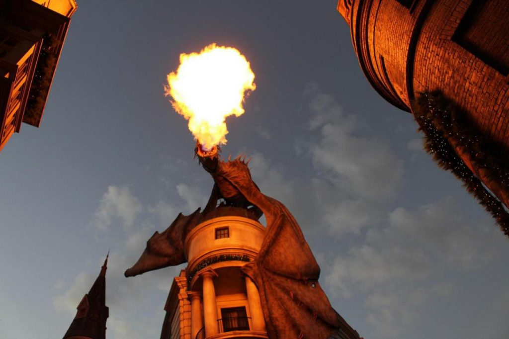 dragon-facts-a-fire-breathing-dragon-standing-on-top-of-a-tower-at-Universal-Studios