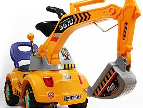 electric-rides-for-kids-a-yellow-ride-on-car-for-kids-that-has-a-mechanical-arm-for-digging