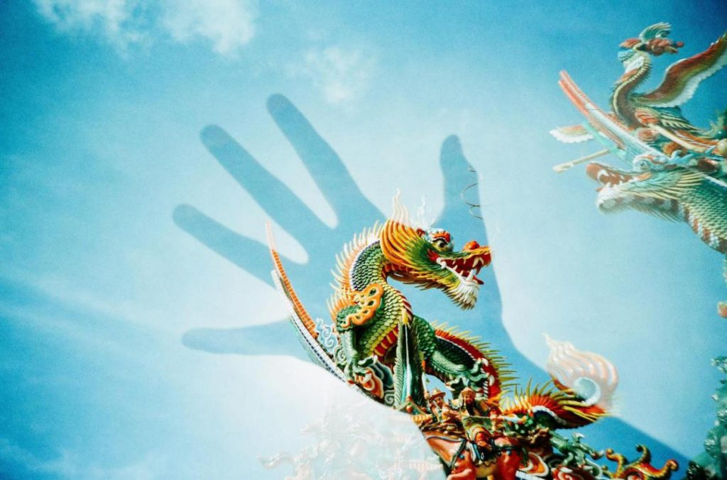 types-of-dragons-a-Japanese-dragon-on-top-of-a-temples-ledge-with-a-silhouette-of-a-hand-in-front-of-the-dragon