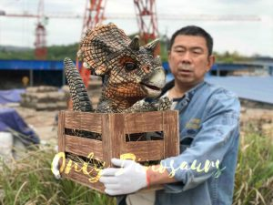 Adorable Crate Baby Triceratops Puppet