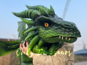 Realistic Flying Green Baby Dragon Puppet