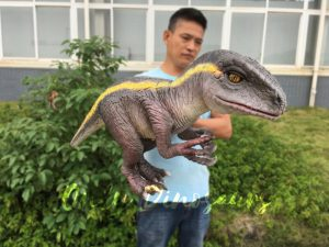 Realistic Yellow Striped Baby Velociraptor Puppet
