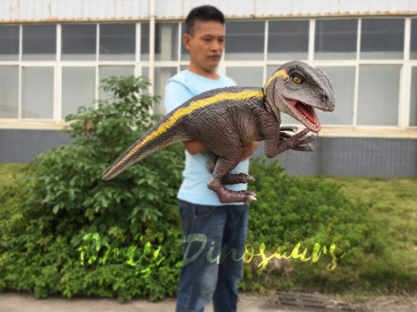 Realistic-Yellow-Striped-Baby-Velociraptor-Puppet4
