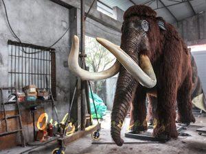 Lifelike Robotic Prehistoric Mammoth Animal Statue for Show