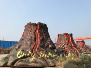 Three Fiberglass Volcano Props with Smoke