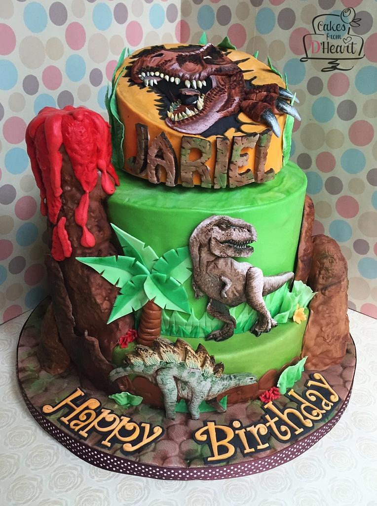 35-Unique-Dinosaur-Cake-Ideas-Everybody-Will-Love-Enjoy-T-Rex-Dino-Cake-with-Stegosaurus-Volcano