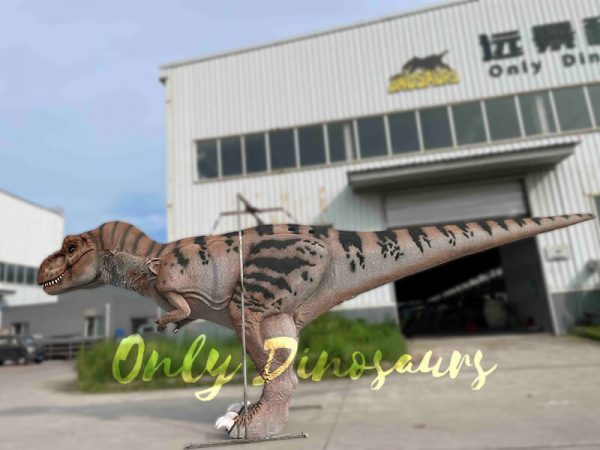 A Brown Dinosaur with Black Stripes in Front of a House