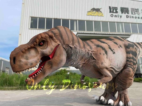 A Creeping Roaring Brown Dinosaur with Black Stripes