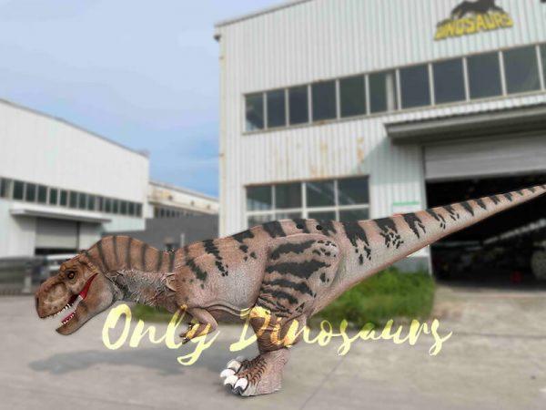 A Creeping Brown Dinosaur with Black Stripes
