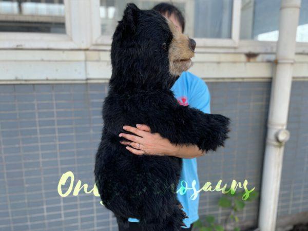 A Woman Carrying a Cute Baby Black Bear