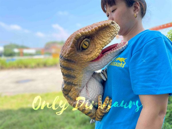 A Woman Carrying a Roaring Brown Baby Velociraptor with Black Stripes