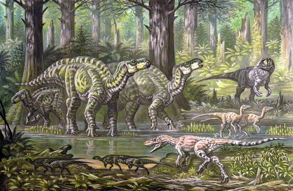 Several Iguanodon and Carnivore