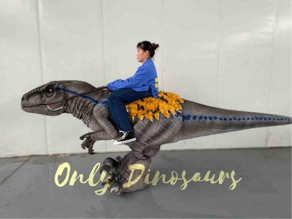 A Woman Riding on the Velociraptor in a Room