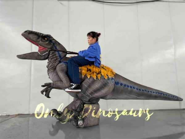 A Woman Riding on a Velociraptor
