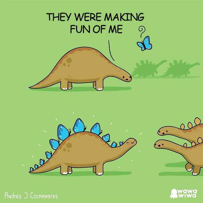 a brown cartoon dinosaur with blue butterflies on its back