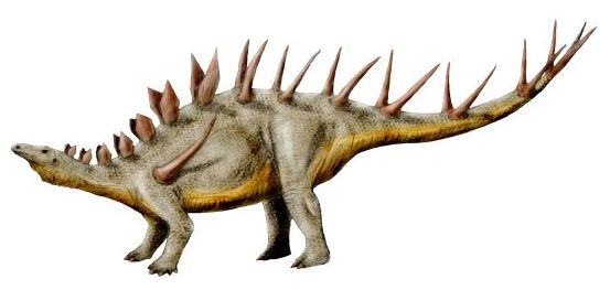 a brown dinosaur with diamond-shaped plates and spikes on its back