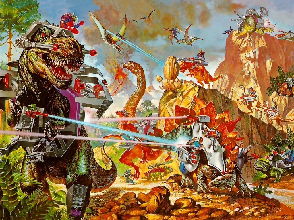 graphic art of T. rex in armor battling other dinosaurs in a jungle