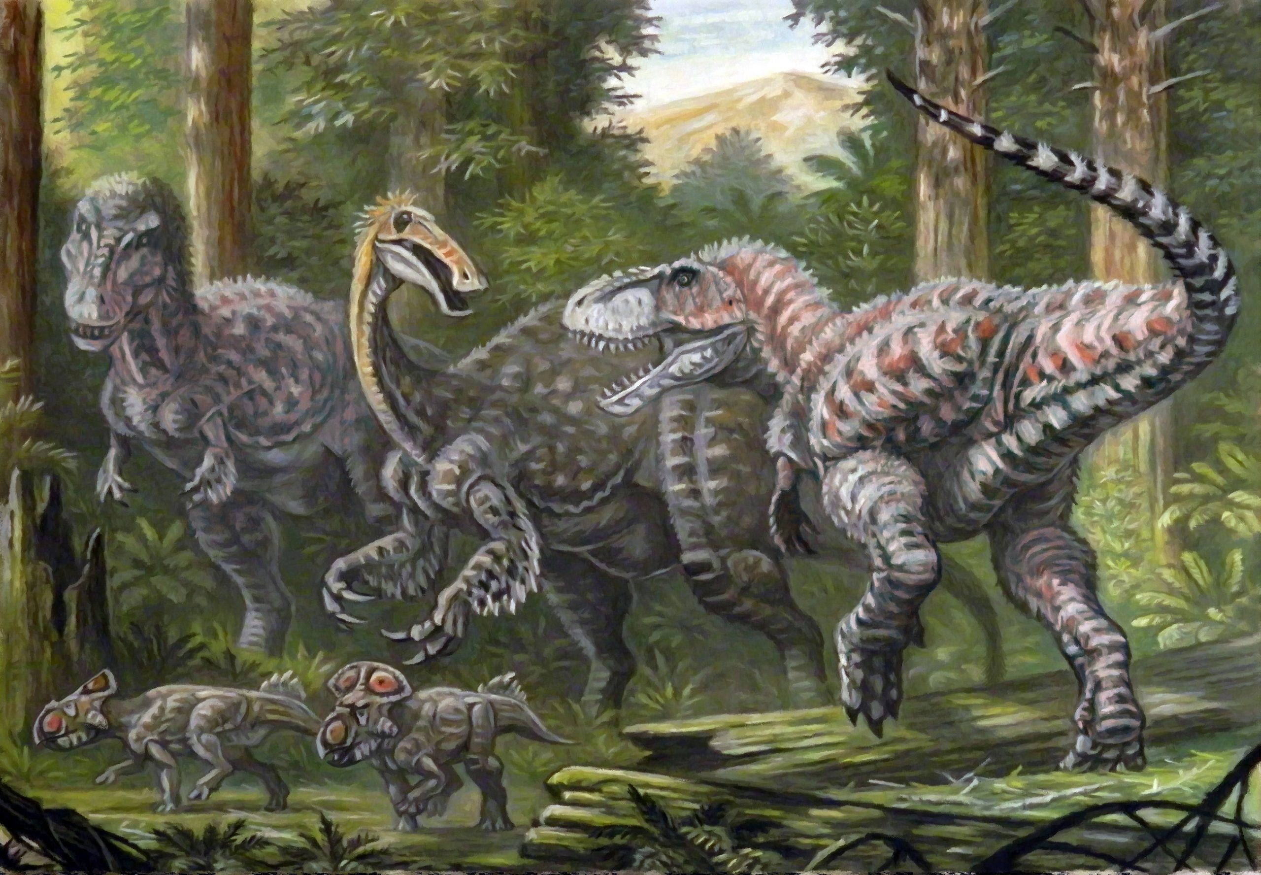 a feathered dinosaur with the horrible hand and other dinosaurs