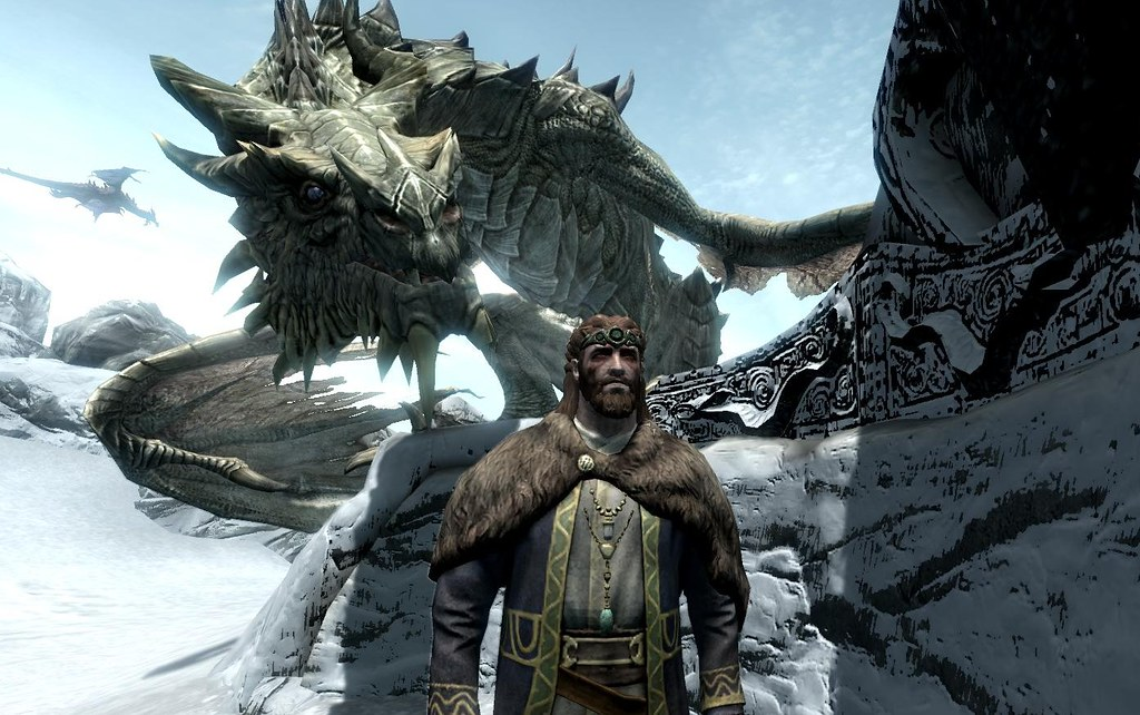 A Black-gray Dragon Standing Behind a Man in a Brown Cape