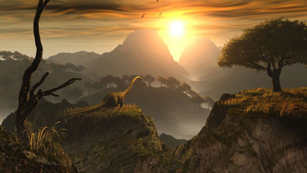 A Brachiosaurus with Setting Sun