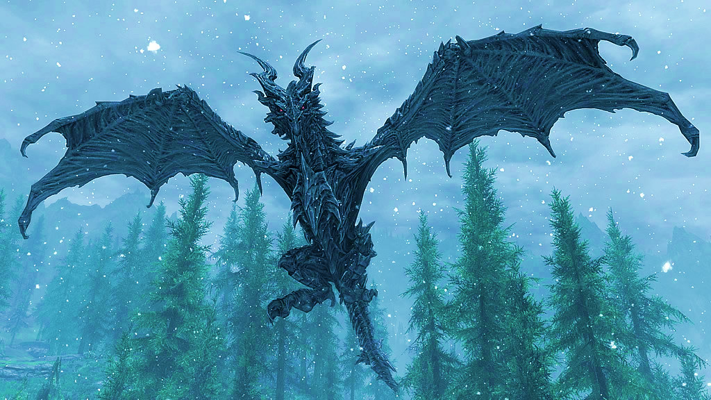 A Flying Gray Dragon with Red Eyes in Blue Forest Background