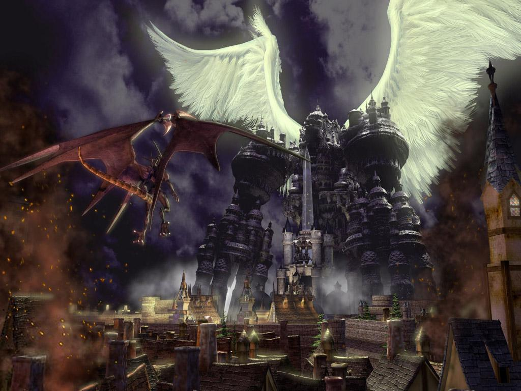 A Gigantic Fortress-like Robot with White Wings in Battle with a Red-Winged Dragon