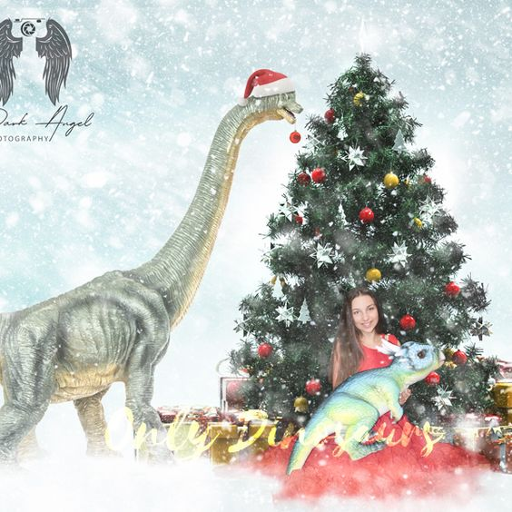 A Girl Holding a Pachycephalosaurus and a Brachiosaurus in a Hat Under the Christmas Tree