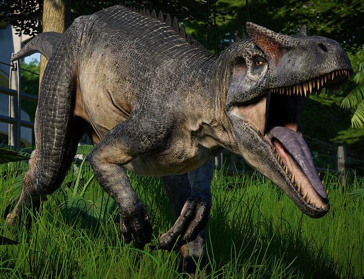 A Roaring Allosaurus on the Glass
