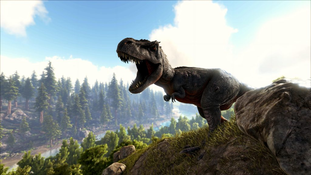 A Roaring T Rex on the Cliff