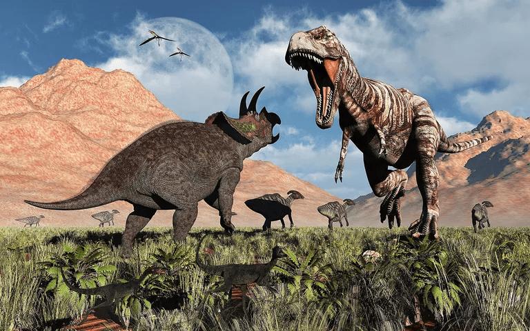 A Triceratops VS A Roaring T-Rex