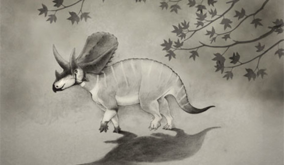 A Triceratops in the Gray Background