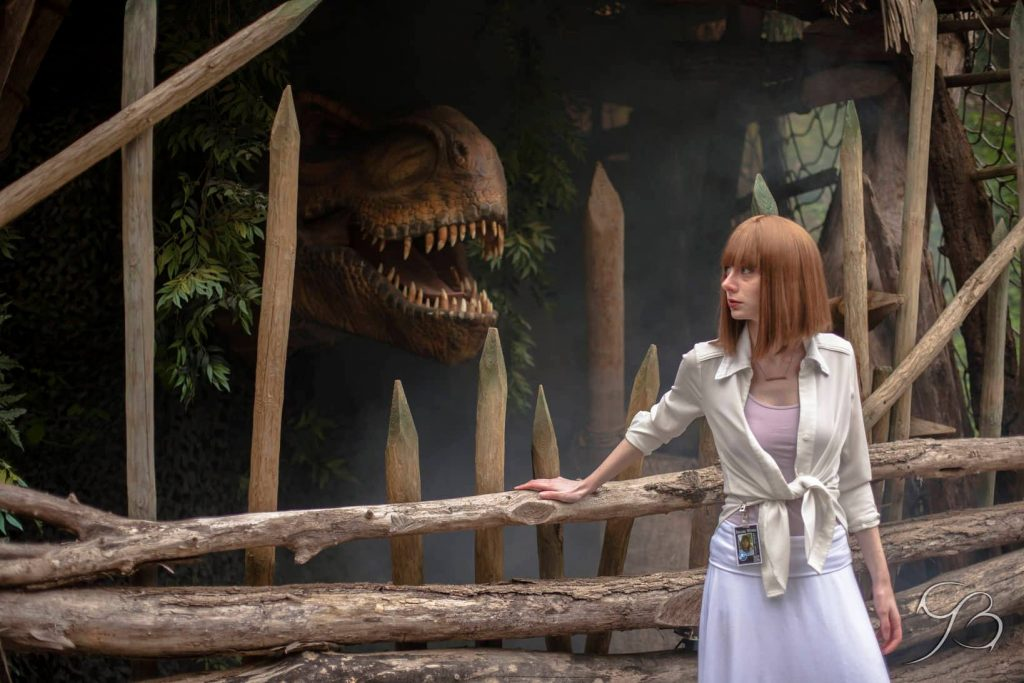 A Woman is Watching the T Rex in the Fence