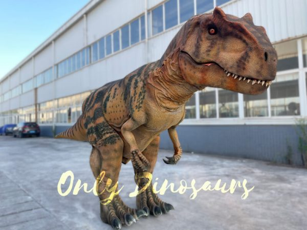 A Brown Allosaurus with Black Stripes