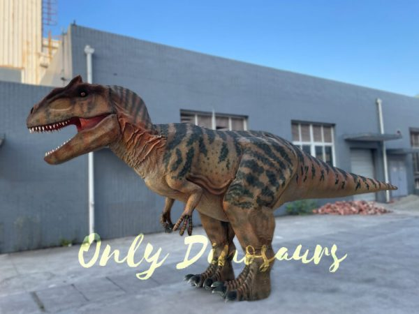 A Roaring Brown Allosaurus with Black Stripes