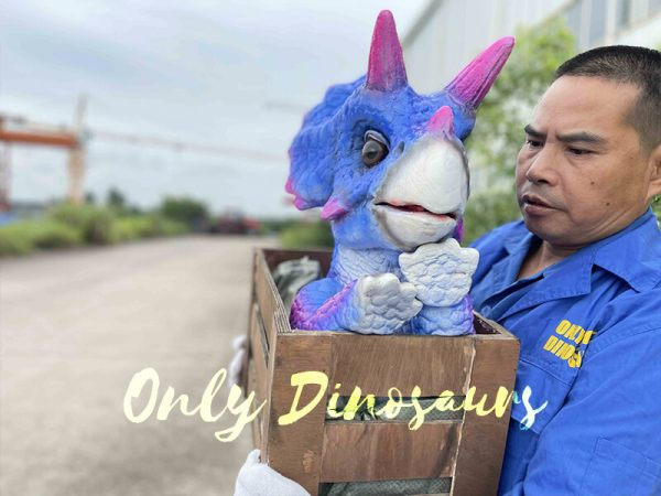 Blue Triceratops Puppet