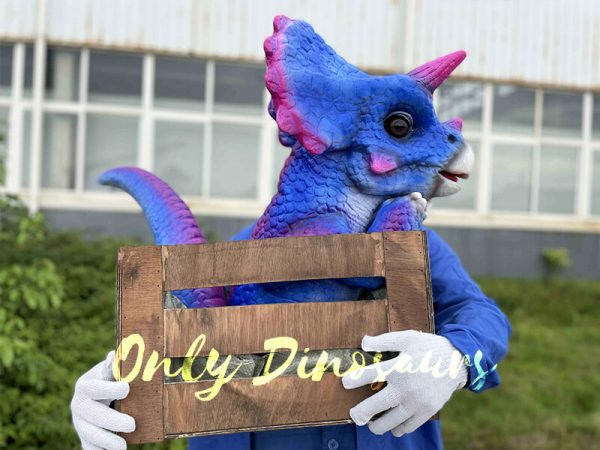 Bright Blue Triceratops Puppet