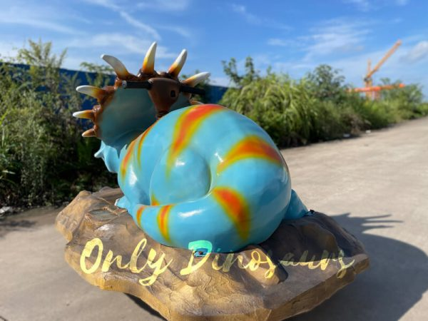 The Back of a Blue Baby Styracosaurus on the Platform